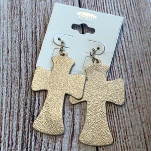 Fashion Faux leather earrings crosses